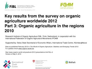 Key results from the survey on organic agriculture worldwide  2012  Part 3:  Organic  agriculture in the regions  2010