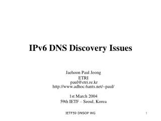 IPv6 DNS Discovery Issues