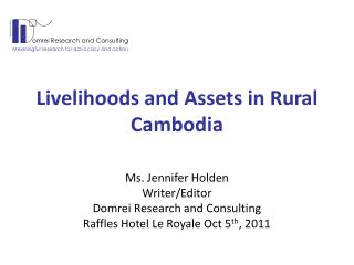 Livelihoods and Assets in Rural Cambodia