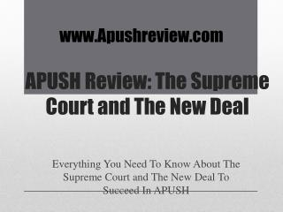 APUSH Review:  The Supreme Court and The New Deal