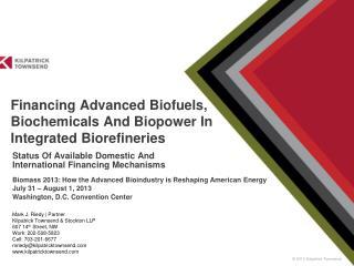 Financing Advanced Biofuels, Biochemicals And Biopower In Integrated Biorefineries