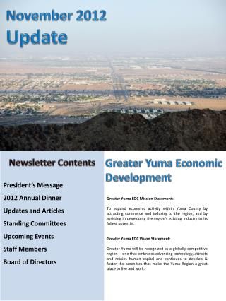 President's Message          2012 Annual Dinner Updates and Articles Standing Committees        Upcoming Events      St