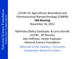 Welcome to the Industry / University Cooperative Research Centers