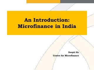 An Introduction: Microfinance in India