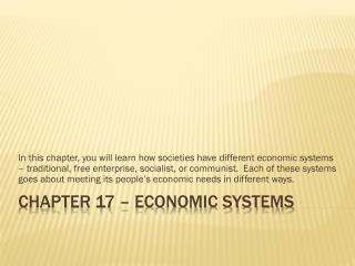 Chapter 17 � Economic Systems