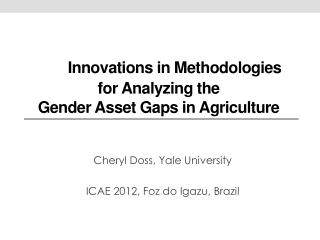 I nnovations in Methodologies for Analyzing the  Gender Asset Gaps in Agriculture