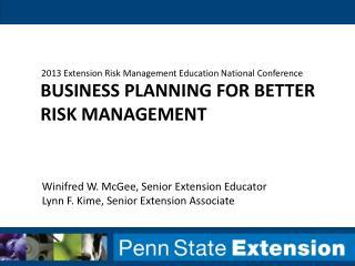 Business Planning for Better Risk Management