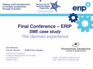 Final Conference – ERIP SME case study The German experience