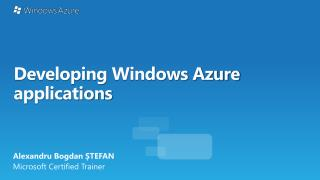 Developing  Windows Azure applications