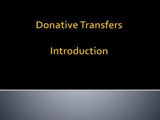 Donative Transfers Introduction