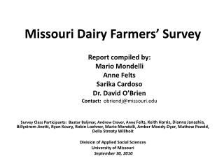 Missouri Dairy Farmers' Survey