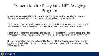 Preparation for Entry into .NET Bridging Program