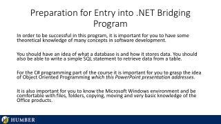 Preparation for Entry into .NET Bridging Program