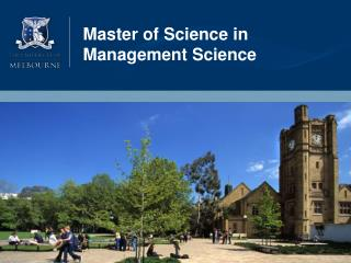 Beyond tomorrow MSc - Management Science - MORe