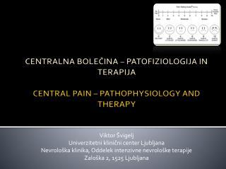 CENTRALNA BOLE?INA � PATOFIZIOLOGIJA IN TERAPIJA CENTRAL PAIN � PATHOPHYSIOLOGY AND THERAPY