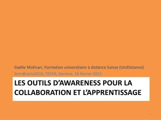 Les outils d' awareness  pour la collaboration et l'apprentissage