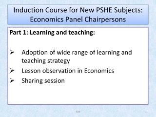 Induction Course for New PSHE Subjects: Economics Panel Chairpersons