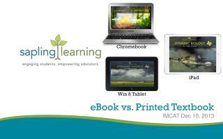 eBook  vs. Printed Textbook