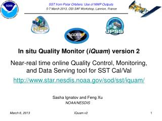 In situ Quality Monitor ( iQuam )  version 2 Near-real time online Quality Control, Monitoring, and Data Serving tool f