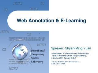 Web  Annotation & E-Learning