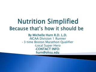 Nutrition Simplified Because that's how it should be