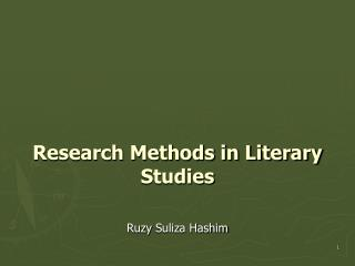 Research Methods in Literary Studies