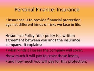 Personal Finance: Insurance