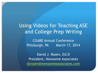Using Videos for Teaching ASE and College Prep Writing