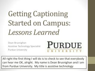Getting Captioning Started on Campus: Lessons Learned