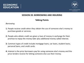 SESSION 20 : BORROWING AND INSURING
