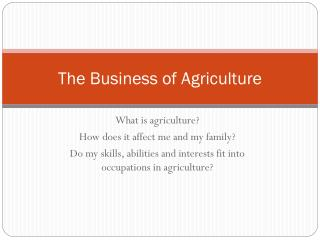 The Business of Agriculture