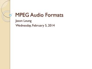 MPEG Audio Formats