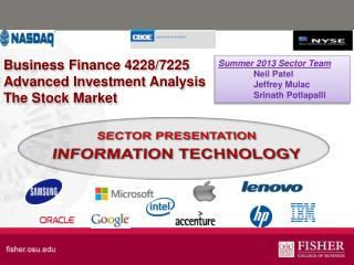 Business  Finance 4228/7225 Advanced Investment Analysis The Stock Market