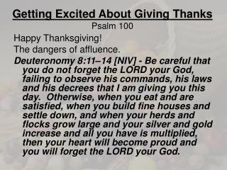 Getting Excited About Giving Thanks Psalm  100