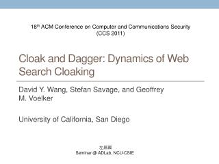 Cloak and Dagger: Dynamics of Web Search Cloaking