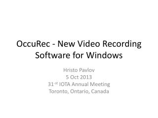 OccuRec  - New Video Recording Software for Windows