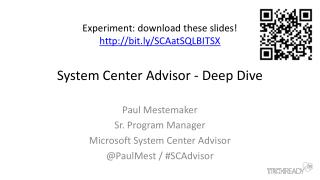 System Center Advisor - Deep Dive