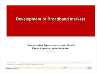 Development of Broadband markets