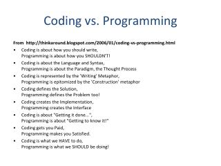 Coding vs. Programming
