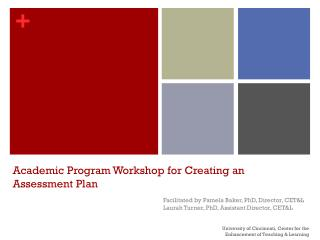 Academic Program Workshop for Creating an Assessment  Plan