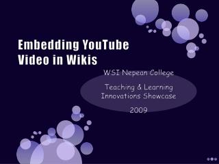 Embedding YouTube  Video in Wikis