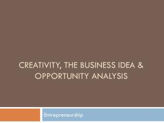 Creativity, the business idea & opportunity analysis