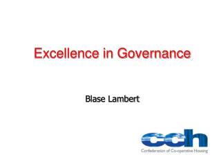 Excellence in Governance Blase Lambert