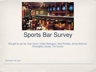 Sports Bar Survey