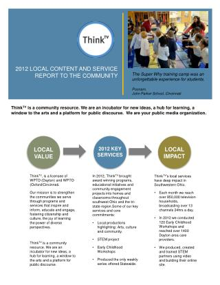 2012 LOCAL  CONTENT AND SERVICE REPORT TO THE COMMUNITY
