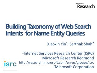 Building Taxonomy of Web Search Intents  for Name Entity Queries