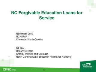 NC Forgivable Education Loans for Service