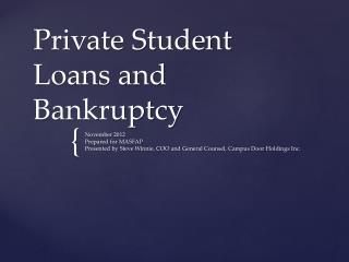Private Student Loans and Bankruptcy