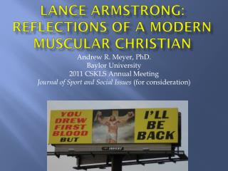 LANCE ARMSTRONG: REFLECTIONS OF A MODERN Muscular Christian