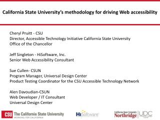 California State University's methodology for driving Web  accessibility